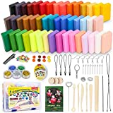 ifergoo Polymer Clay Starter Kit, 46 Colors Oven Bake Clay, DIY Modeling Clay Bockers, 5 Scuplting Tools, 5 Colors Mica Powder, 40 Jewelry Accessories for Kids and Adult