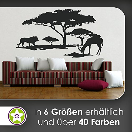hauptsachebeklebt KIWISTAR Afrika Motiv Löwe u. Antilope Wandtattoo in 6 Größen - Wandaufkleber Wall Sticker