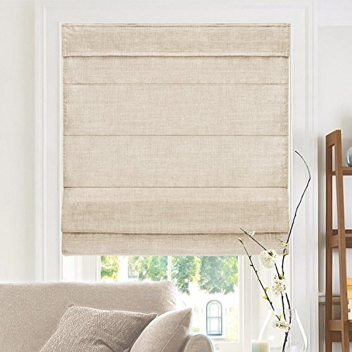 CHICOLOGY Cordless Roman Shades Cross-Hatched Modern Fabric Cascade Window Blind Treatment Belgian Flax (Privacy & Light Filtering) 35'W X 64'H