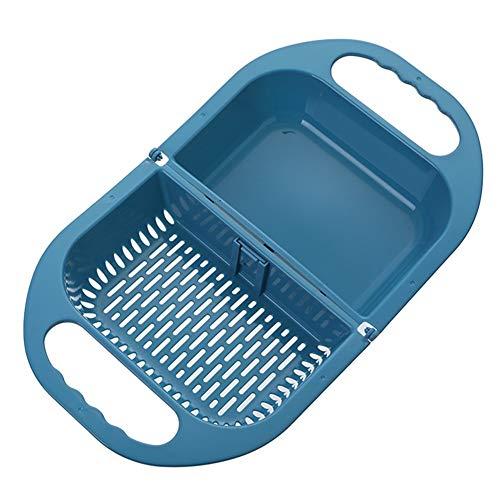 BOENTA Bacinella Pieghevole Bacinella Pieghevole Campeggio Pieghevole Colino Gadget da Cucina per La Cottura Sink Cestello Setaccio Riso Pieghevole Ciotola Blue,One Size