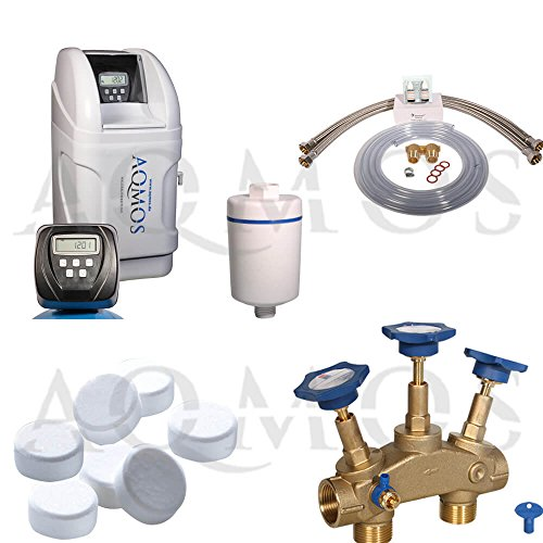 Hochwertige Aqmos CM-32 Wasserenthärtungsanlage im Set mit Montageblock und 100kg Regeneriesalztabletten, Wasserenthärtungsanlage für Haushalte bis zu 3 Personen, Entkalkungsanlage, Antikalkanlage