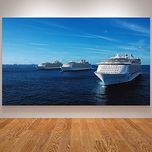 yiyiyaya Graue Bilder für Wände Kreuzfahrtschiff Poster und Drucke Kriegsschiff Deich Bilder für Wohnzimmer Dekoration Passenger Liner Oasis Leinwand Wandkunst Nordic-60x90_cm_Unframed_Light_Grey