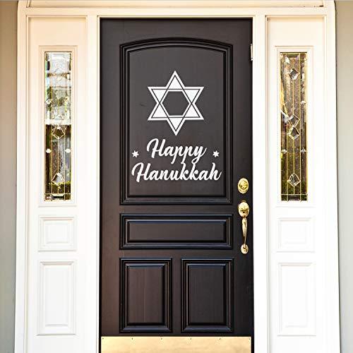 Vinyl Wall Art Decal - Happy Hanukkah - 28' x 22' - Star of David Jewish Holiday Decoration Sticker - Indoor Outdoor Home Office Wall Door Window Bedroom Workplace Decor Decals (28' x 22', White)