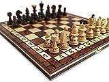 KHAPLO - Jeux D'échecs en Bois De Échiquier Pliable - Fabriqué À La Main - 31x31 Cm - Grand Plateau De Jeu - Modèle Roma - Marron