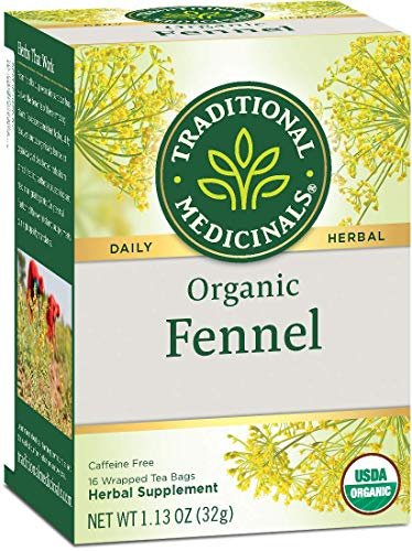 TRADITIONAL MEDICINALS Organic Fennel Tea Bags, 16 Count (3 Pack)