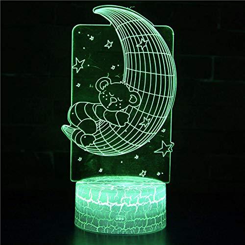 3D noche luz para niños 3D ilusión lámpara luna y oso 16 color cambiante LED humor lámpara escritorio mesa lámpara niños regalo