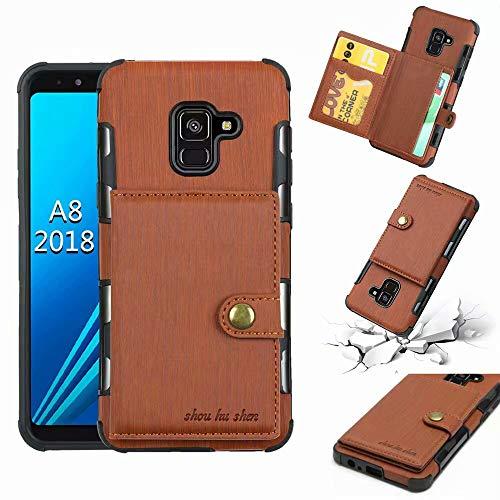 Zhanying pour Samsung Galaxy A8 2018-Cuir PU Flip Folio Wallet Case Business Multi-Cartes Slots Durable Housse de Protection Antichoc (Couleur : Marron)