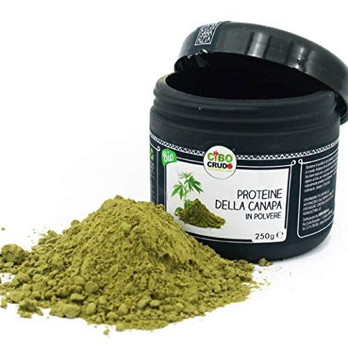 CiboCrudo Proteine della Canapa in Polvere Biologica Cruda – 250gr – Hemp Protein Powder Raw Organic, dai Semi della Canapa Sativa, Integratore Proteico Vegetale, Etichette in Italiano