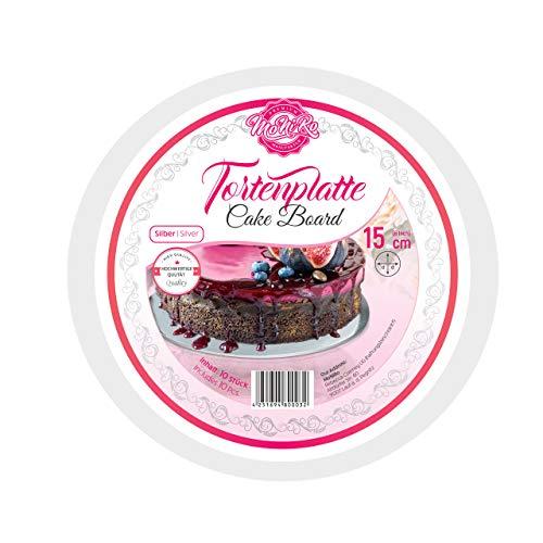MoNiRo Juego de 10 tablas para tartas redondas plateadas de 15 cm de diámetro, 3 mm de grosor para el transporte de tus tartas, apto para alimentos, base para tartas, bandeja para tartas (15 cm)