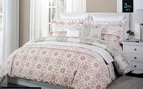 Cynthia Rowley Bedding 3 Piece Full / Queen Reversible Duvet Cover Set Salmon Pink and White Medallions on Gray