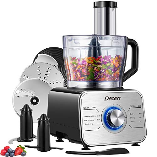 Decen 12 Cup Food Processor, Variable Speed Food Processor with Dough Blade, Vegetable Chopper for Slicing, Shredding, Mincing, and Puree, 600W Powerful Motor, BPA Free, Silver