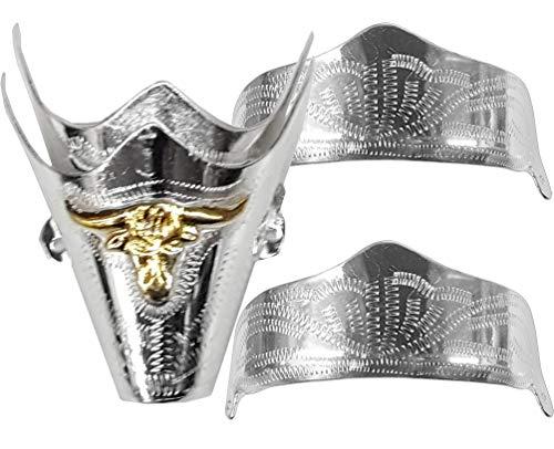 Modestone 4 Pcs Nickel Silver Boot Caps: 2 x Toe Bull + 2 x Heel Silver
