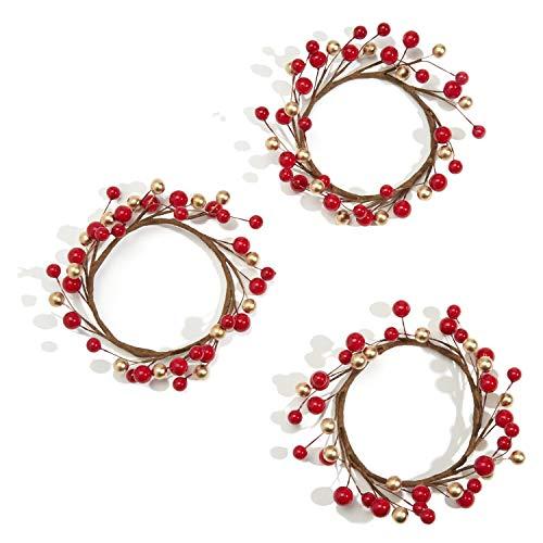 Monland 3PZ Anelli di Candela per Pilastri, Rosso e Oro, Piccole Ghirlande per Natale, Centrotavola per Matrimonio Rustico o Decorazione da Tavola