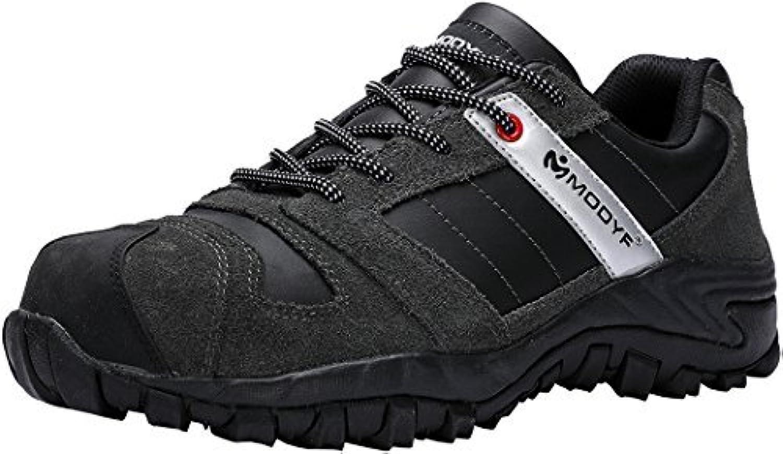 MODYF herr herr herr Steel Toe Cap Work Safety skor Genuine läder Casual Anti -Kick Footdure utomhus Puncture stövlar grå  70% rabatt