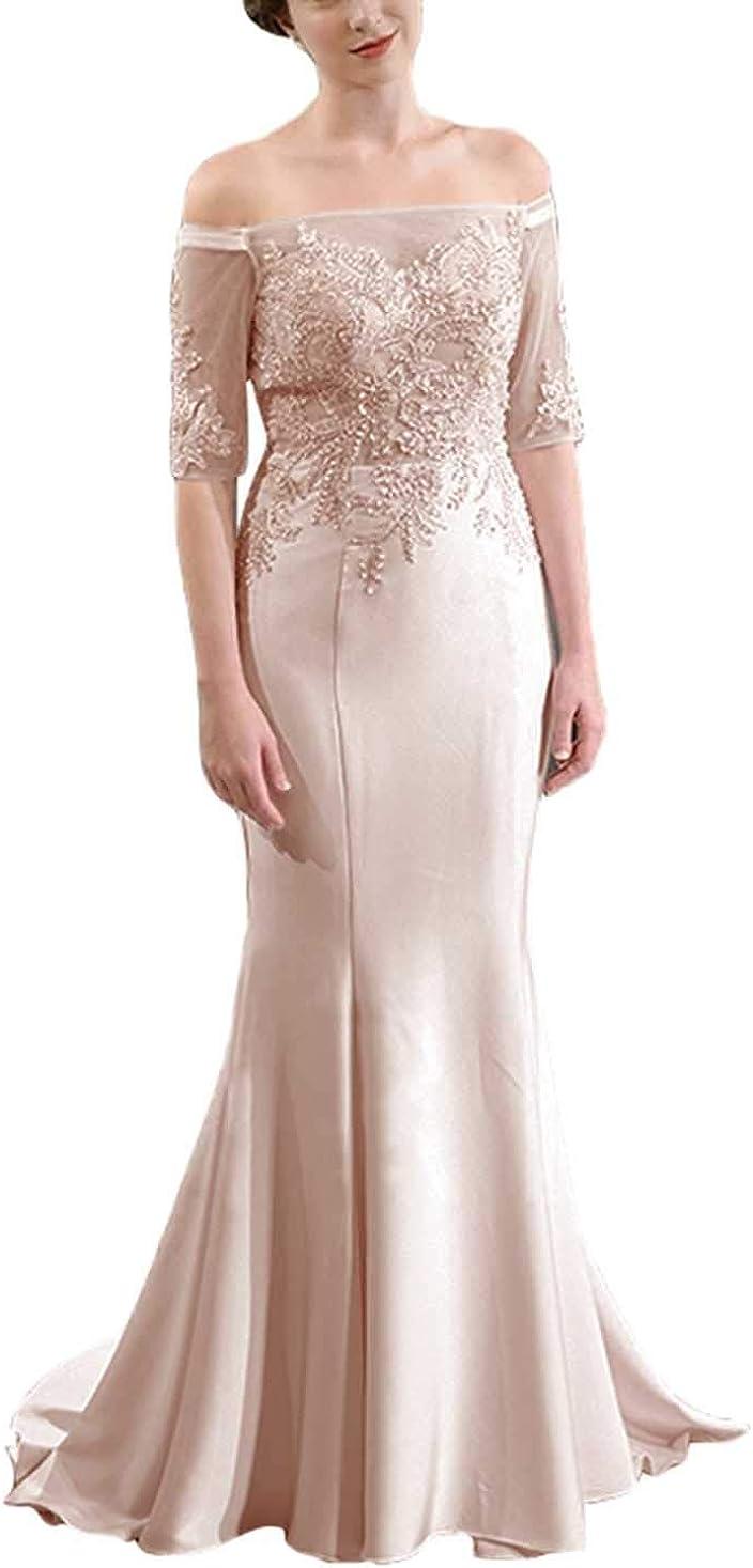 Women's Formal Dresses Long Mermaid Lace Mother of The Bride Dresses Off Shoulder Evening Dresses