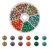 PandaHall 180pcs 6 Colori 6mm Perline Sintetiche di Malachite Perline di Pietra Rotonde per Gioielli Collana Braccialetto Artigianato Fai da Te