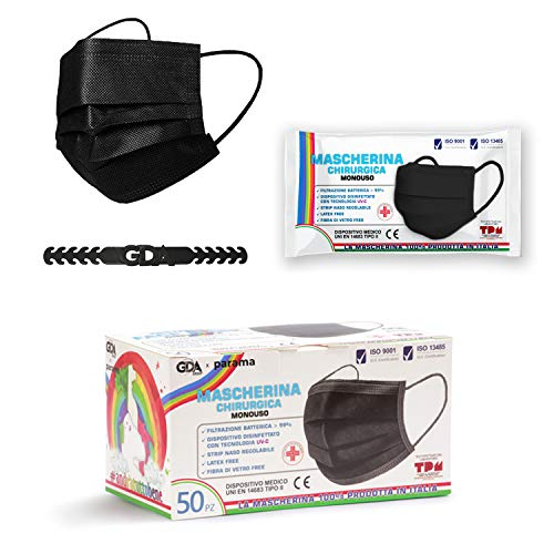 GDA 50 Stück Medizinischer OP Masken Mundschutz schwarz Made in Italy – TYP II Einwegmasken CE Zertifiziert EN 14683 3-lagiger Mund Nasen Schutz