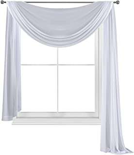 WPM WORLD PRODUCTS MART Elegance Sheer Voile Window Curtain Scarf Fully Stitched and Hemmed Valance 216'' Inch Long (White...