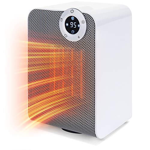 Best Choice Products 1500W Portable Compact Oscillating Desktop Space Heater for Home, Office w/Fan, Adjustable Digital Thermostat Display, 12-Hour Timer, Auto Shut Off, 3 Second Heat Up, White