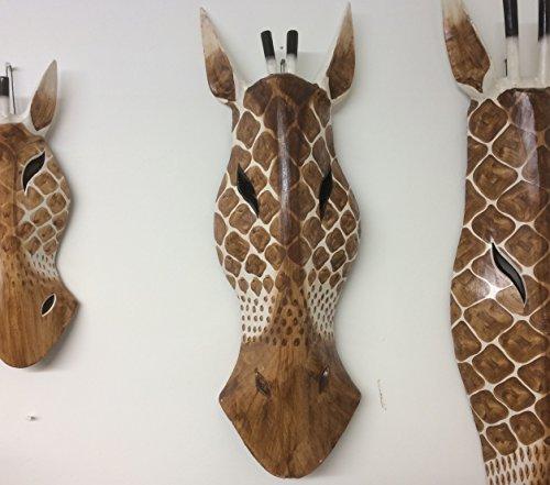 Colgante de pared máscara de animales–jirafa–50cm tallada a mano de madera máscara