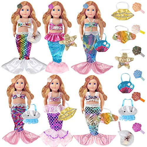 18 Pcs Mermaid Doll Clothes for 18 Inch American Girl Dolls with 6 Set Rainbow Mermaid Tail Tops Swimsuit 6 Different Doll Handbags and 6 Shell Hairpins Accessories (18 Piece)