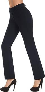 Pull-on Yoga Dress Pants for Women Mid Rise Bootcut Straight Leg Workout Pants, Office Slacks Work Pants for Women