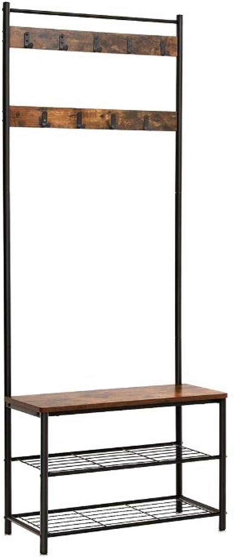 Benjara Metal Wood Coat Rack with Nine Hooks & Storage Shelves, Brown Black