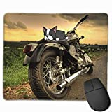 Silver Cruiser Motorcycle Non-Skid Unique Designs Gaming Mouse Pad Black Cloth Rectangle Mousepad