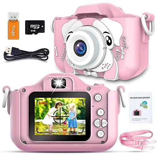 Plartree Kinder Kamera, 2,0Zoll Kinder Digital Kamera mit zwei Objektiven, 20.0MP Farbbildschirm Videocamcorder mit 32GB SD Karte und Lanyard, USB Aufladung, Aufnahme von Fotos, Videos, Spielen (Pink)