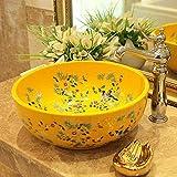 ZWJ-JJ Pintura china de cerámica de arte Lavabo Baño Buque Fregaderos Ronda encimera de flores y aves baño fregadero cuencos lavabo de cerámica