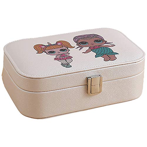 Joyery Box Organizer, Caja De Almacenamiento De Joyería De Cuero Artificial De PU De PU, Pendientes De Anillo Organizador De Caja De Joyería para Niñas Mujeres Light Khaki