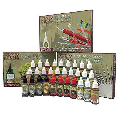 The Army Painter | Ultimate Collection Kit | 30 Colori acrilici | 10 pennelli Wargamer | Kit di Utensili per modellismo | Set di basi