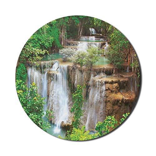 Runde Mausmatte, Wasserfall-Mauspad für Computer, Huey Mae Kamin Stream Eastern River zwischen Büschen Bäume Eco World, rundes rutschfestes Gummi-Mousepad mit moderner Basis, blasses Karamell und grün