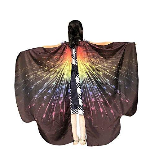Vimoli Schmetterling kostüm Frauen Schmetterling Flügel Schals Poncho Kostüm Verkleidung Zubehör für Cosplay/Show/Daily/Party, Damen Schöner Chiffon Schmetterlingsflügel Schal(B Schwarz,136 * 108CM)