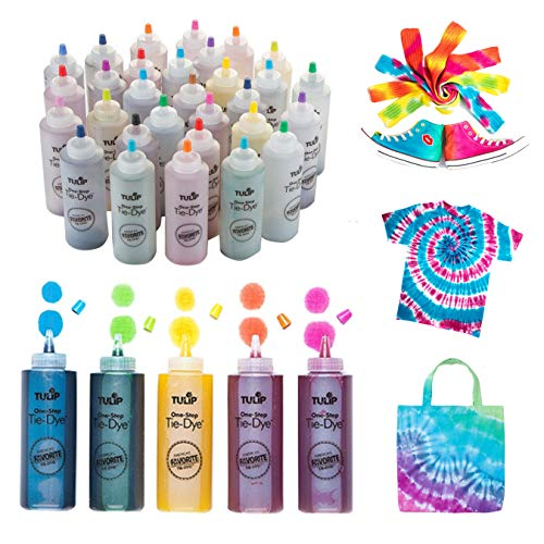 Tulip One-Step Tie-Dye Kit Ultimate Summer Bundle, Classroom Pack, Party Supplies Tie Dye, Durable Results-Includes 30 Bottles