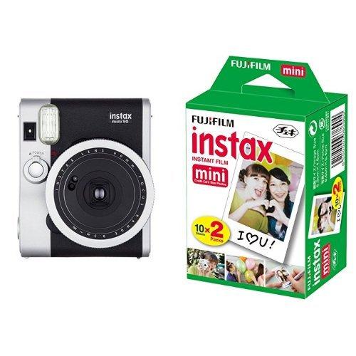 Fujifilm Instax Mini 90 Neo Classic Fotocamera Istantanea, Formato 62x46 mm, Nero/Argento + 2 x Fujifilm Instax Mini Film 10 Pellicola Instantanea per Instax Mini 7S, Mini 25 e Mini 50S, Set 2 Pezzi