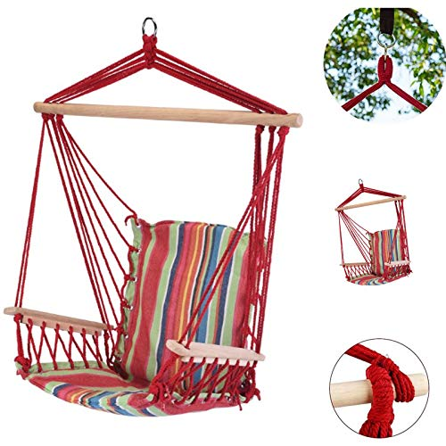 Evokk Hammock Chair Portable Hanging Swing Seat Tree Poly Garden Portable Cotton Travel Camping