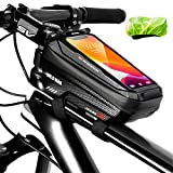 MonoTele Bike Frame Bag with Phone Holder, Bike Top Tube Bag Pouch, Waterproof Bicycle Bike Phone Mount Bag with Touch Screen Window, Bike Handlebar Bag for Cell Phone up to 6.5''