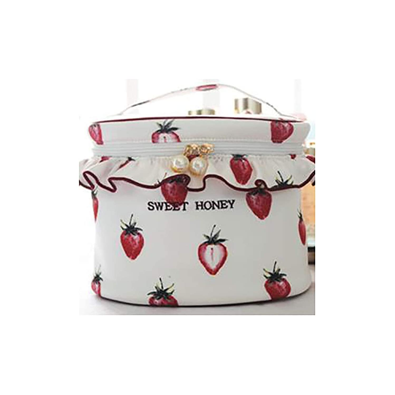 また明日ね不従順ナインへHENGTONGWANDA 化粧品のバッグ、かわいいイチゴの女の子の心の化粧バッグ、多機能トラベルポータブル大容量の洗濯収納袋 (Color : Red)