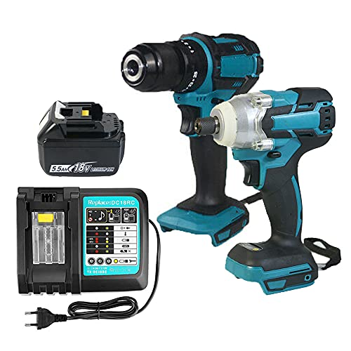 Combi Drill Impact Driver & Cordless Brushless Impact Wrench with 5.5Ah Battery and DC18RC Charger | Power Hand Tools Set