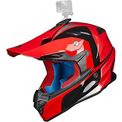ILM Adult Motocross Dirt Bike Helmet with Super Soft Liner Camera Mount for Men Women ATV Motorcycle Dual Sport DOT(Red Black, M)