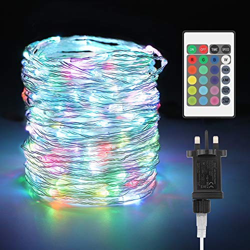 LED Fairy Lights Plug in 20M 16 Multi-Color Changing RGB Copper Wire Lights, Timer with Remote, IP67 Waterproof Outdoor String Lights for Bedroom Christmas Wedding Party Garden Pathway Tree