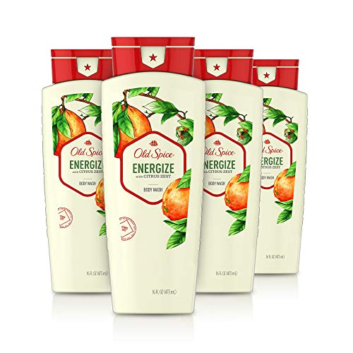 Old Spice Body Wash for Men, Energize with Citrus Zest Scent, Inspired by Natural Elements, 16 Oz, (Pack of 4)
