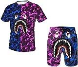 Men's 2021 Summer 2 Piece Set Outfits Bape Shark Trendy Camouflage Short-Sleeved T-Shirt Beach Pants Swim Trunks Suits-Blue Purple-Large