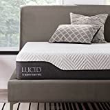LUCID 10 Inch Twin Hybrid Mattress - Bamboo Charcoal and Aloe Vera Infused Memory Foam - Moisture Wicking - Odor Reducing - CertiPUR-US Certified