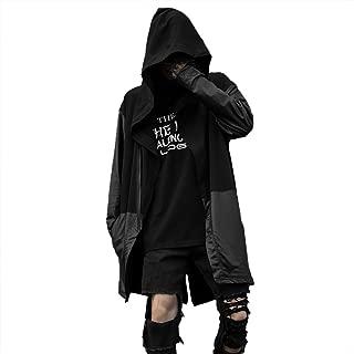 Xesvk 2019 Autumn Winter Men's Coat Loose Patchwork Hooded Long Cardigan Jackets