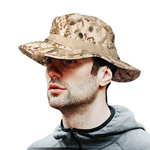 MerryBIY 2 en 1 Sombrero del Cubo de Deportes al Sol-Shading Sol Gorro Aire Libre Boonie Hat Cap de Camuflaje Hombre Exterior Selva Equipo Montañismo Sombrero Viaje Pesca Hat (Desert Digital)