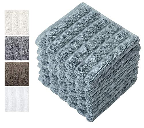 Luxury Bath Wash Cloth Towel Set - Combed Cotton Hotel and Spa Quality Hand Towel - Made with 100% Turkish Cotton, Set of 6 (13' x 13') Jacquard Rib Style