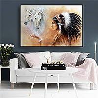 パズル1000ピース インドの先住民の絵画羽の女性馬の絵画アート画像 ジグソーパズル1000ピース グレートホリデーレジャー、家族向けインタラクティブゲーム50x75cm(20x30インチ)