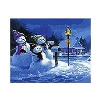 数字油絵,キャンバスの油絵 大人の子供のためのギフト 数字キットでペイント ホームデコレーション ボックス付きクリスマス雪だるま40X50Cm